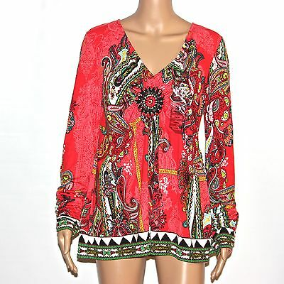 New $58 ECI Womens Floral Blouse V-Neck Medallion-Front Long-Sleeve Top T-Shirt
