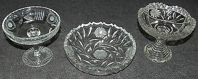 LOT OF 3 BEAUTIFUL ETCHED FLORAL CRYSTAL CUT GLASS COMPOTE BOWL CANDY DISH EAPG