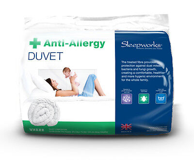 Anti Allergy Hollowfibre Double Bed Size Duvet Quilt, Polycotton, Bedding