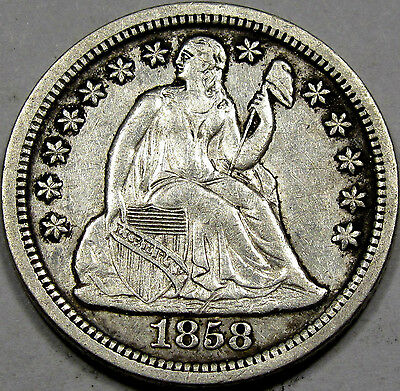 1858-O Seated Liberty Dime Nice AU+... Better Date in this grade, Antique Toned!