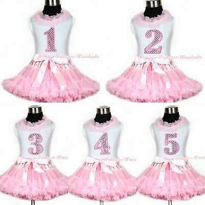 Light Pink Pettiskirt Pink lacing Sparkle Birthday Number White Top Vest 1-8Year