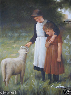 "Oil Painting On Stretched Canvas 12""x16"" ~Mother and Child with Lamb~"