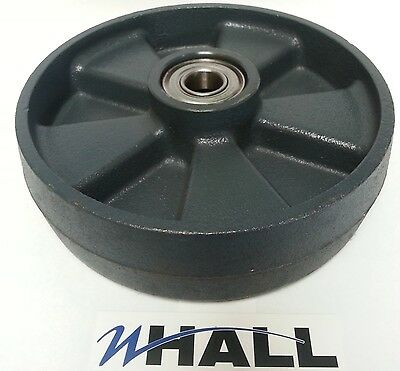 Cast Iron steer wheel 200x50mm for hand pallet/ pump truck (inc. bearings) GREY