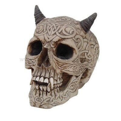 Celtic Skull Skeleton Figurine Halloween Decor Statue Tattoo Demon Horned Evil