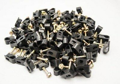 2000 Pcs Black Single Flex Clips with Strain Relief Screw RG6 RG59 Coax Cable