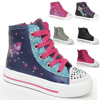 Girls Hi Tops Trainers Infants Kids Fancy Canvas Ankle High Top Boots Shoes Size