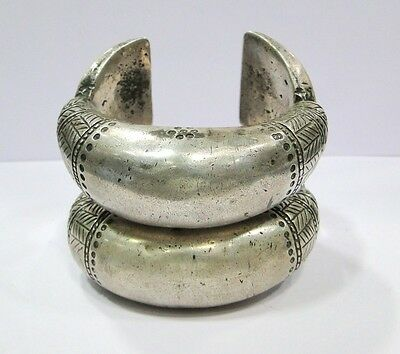 Vintage antique ethnic tribal old silver Bracelet Bangle pair Rajasthan India