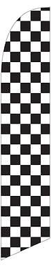 Black and White Checkered 12ft Feather Banner Swooper Flag - FLAG ONLY