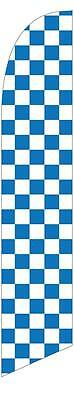 Blue and White Checkered 12ft Feather Banner Swooper Flag - FLAG ONLY