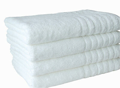 Bulk Save 12 Towels Set Luxury 600GSM Spa Quality Pure Cotton Natural White