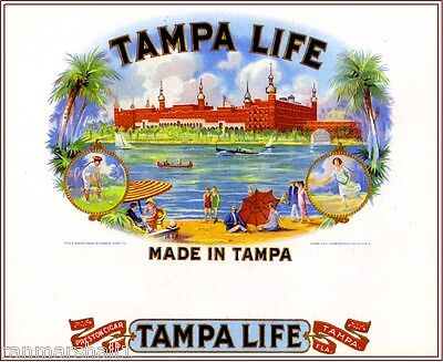 Tampa Florida Life Scenic Smoke Vintage Cigar Box Crate Inner Label Art Print