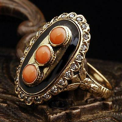 Antique Genuine 0.9CT Coral/Diamond Solid 9K Yellow Gold Vintage Ring Estate