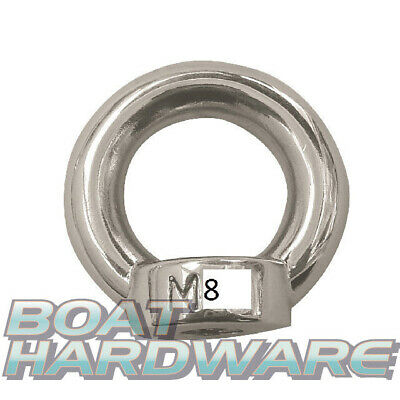 M8 Lifting Eye Nut 8mm 316 Marine Grade Stainless Steel Shade Sail Boat Yacht