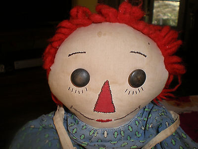 early vintage  PRIMITIVE HANDMADE  Raggedy Ann Doll black outline nose 1940
