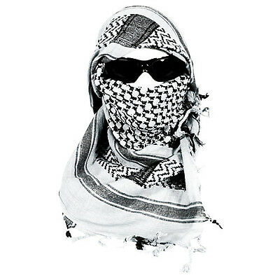 "White & Black Lightweight Shemagh Arab Tactical Desert Keffiyeh Scarf 42"" x 42"""