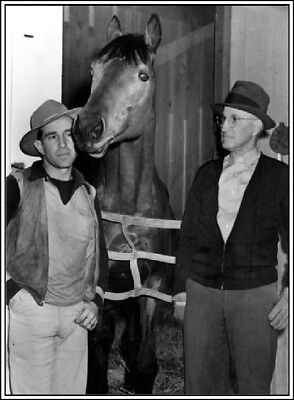 1939 Photo Seabiscuit Horse Santa Anita Race Track Arcadia California B&W Print
