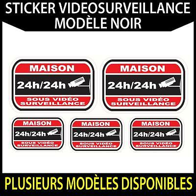 Sticker dissuasif Noir video surveillance adhésif autocollant protection alarme