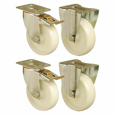 "Set of 4 - 4"" / 100mm Heavy Duty Roll Cage / Supermarket trolley wheels castors"