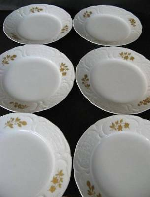 Rosenthal Classic Rose Collection Gold Bouquet Side / Entree Plates Set of 6