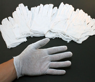 White Inspection Cotton Men Gloves Lisle Coins 12 Pairs / 1 Dz Lightweight