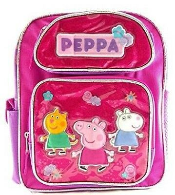 """Peppa Pig Girl 12"""" inches Canvas Pink & Purple School Backpack New with Tags"""