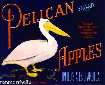 Yakima Washington State Pelican Bird Apple Fruit Crate Label Art Print
