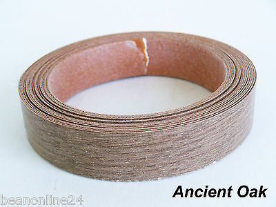 Iron-On Melamine Veneer Edging Tape-  ANCIENT OAK - 21mm x 5 metres - Pre Glued