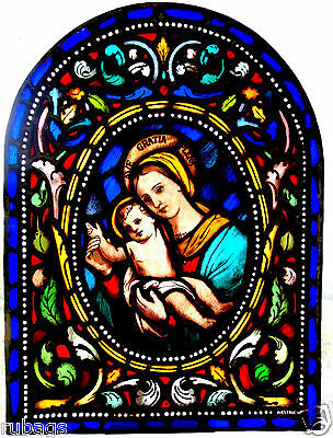 "VITRAUX VITRAIL by ANTONI ESTRUCH I BROS "" LA VIRGEN DEL HUERTO "" STAINED GLASS"