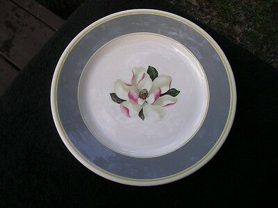 Syracuse Magnolia Yellow Bands Gray Rim Green Pink White Flower Luncheon Plate