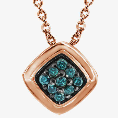 0.12 Ct Round Blue Diamond 925 Rose Gold Plated Silver Pendant With Chain