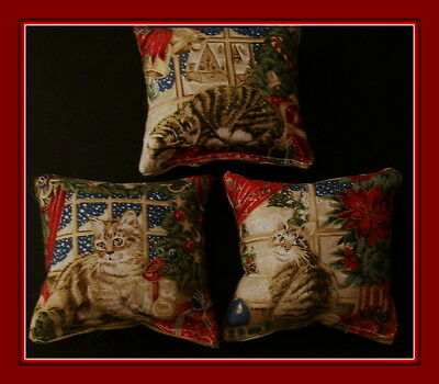 Three Kittens In The Window Christmas  Catnip Pillows