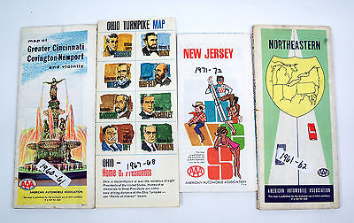 Lot of 4 AAA American Automobile Association Maps from 60's & 70's Ohio & Jersey