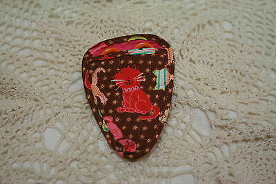Colorful little kittens on Brown calico II Quilted embroidery scissor holder