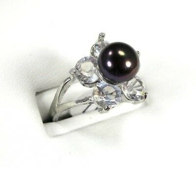 R+1190, 8-9 mm Black Cultured Pearl solitaire Ladies Ring Silver Size 7.5