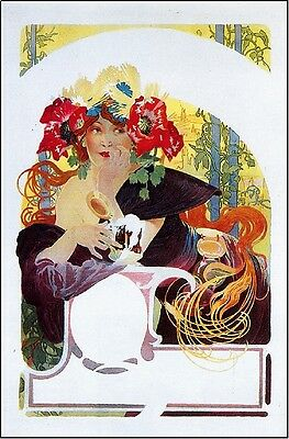 Early 1900's French Beer Wine Champagne Advertisement Art Poster Print