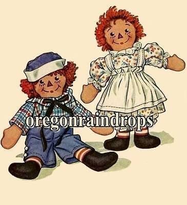 "Raggedy Ann and Andy Pattern ~ Vintage Doll Pattern 15"" Tall"