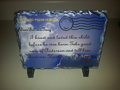 Baby shower gift- Postcard from Heaven- Hand chisled slate plaque Personalized