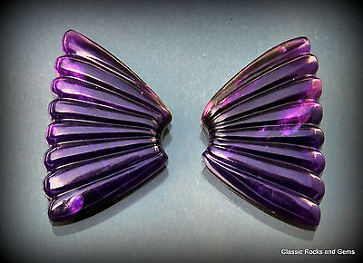 AAA Gel Sugilite Gemstone Carving Pair 28.2ct Top Qualität Sugilith Gravur