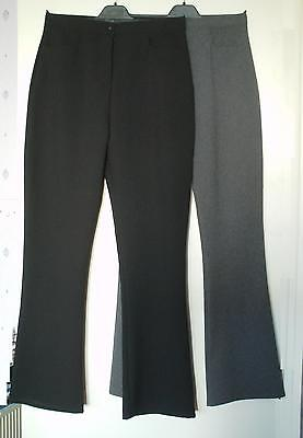 NEW GIRLS/LADIES BLACK or GREY SMART EVERYDAY OFFICE TROUSERS SIZES 8,10,12 &16