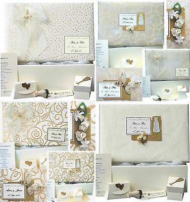 LARGE Wedding Keepsake Box - 16 Ivory/Gold Designs PERSONALISED 4 Motifs+Extras