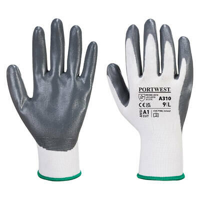 Portwest A310 Flexo Grip Nitrile Palm Coated Safety Gloves Precision Assembly