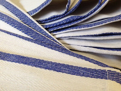 1 dozen 100% cotton blue stripe herringbone kitchen dish towels lintless 24oz