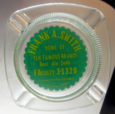 Frank A. Smith Ten Famous Brands Beer Ale Soda King Street Pottstown PA Ashtray