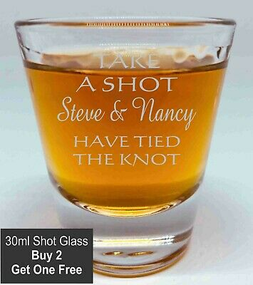 Personalised Engraved 30ml Shot Glass BUY 2 GET 3RD FREE Wedding bomboneire gift