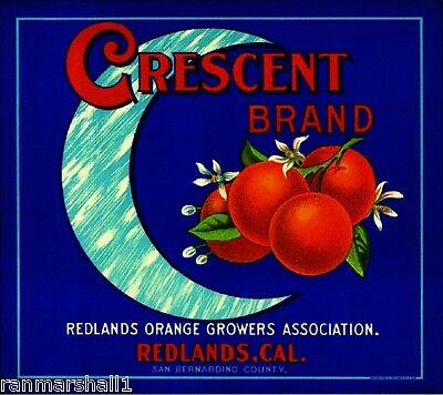 Redlands San Bernardino Crescent Moon Orange Citrus Fruit Crate Label Art Print