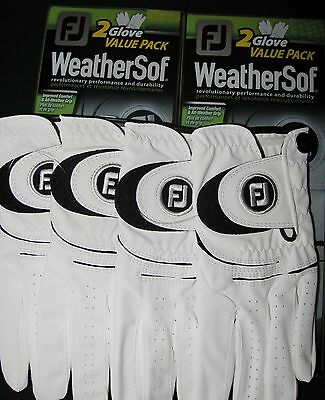 4 WeatherSof Golf Gloves by FootJoy. (2) 2glove value packs.  Free shipping!