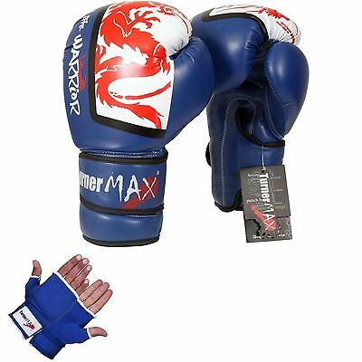 TurnerMAX Boxing Muay Thai Sparring Gloves Fight Grappling Pad MMA Blue