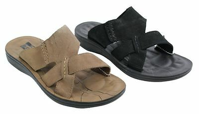 Mens Real Leather Slip On Slippers Black Tan Brown Summer Beach Sandals Mules