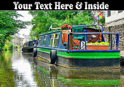 PERSONALISED NARROW BOAT CANAL BARGE HOUSE BOAT BIRTHDAY FATHERS DAY etc CARD