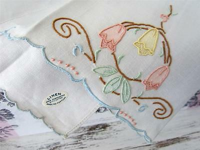 Vintage Madiera Embroidered Applique Linen Fingertip Towel W. Tag